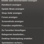Steam Bibliothek Dropdown-Menü